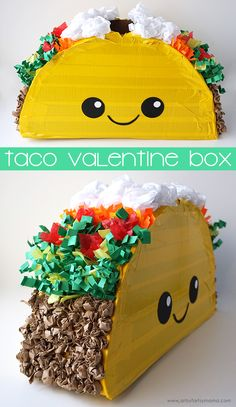 Collect your Valentines in this adorable Taco Valentine Card Box! Collect your Valentines in this adorable Taco Valentine Card Box! Valentine Boxes For School, Kinder Valentines, Valentines Day Food, Valentines For Boys, Valentine Day Crafts, Valentine Day Box Ideas, Happy Valentines Day Cards, Valentines Ideas For Boyfriend, Valentines Day Baskets