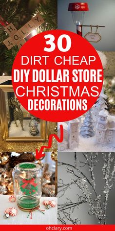 These 30 Dollar Store DIY Christmas Decorations are so EASY to do! So happy I found these inexpensive Holiday home decor ideas from the Dollar Tree! Now I can stay on budget and make homemade decor to make my house look beautiful! Definitely pinning!