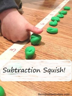 Subtraction Squish! Once you ask the subtraction problem, have your child line up the correct number of play dough balls and then squish them to find the right answer. A great activity for students with special learning needs. Very visual and tactile. Read more at: http://theresjustonemommy.com/2015/05/04/subtraction-squish/