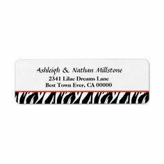 Black and White Zebra Wedding Address V05 Custom Return Address Label