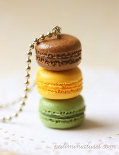 Macaron Jewelry - Trio Macarons Necklace. Lol... No way! I want to eat them!