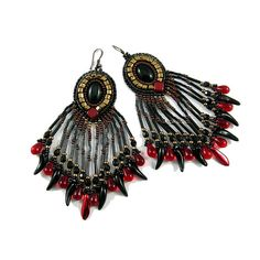 Lolth spider queen earrings bead embroidery in by Taurielscraft, $59.00