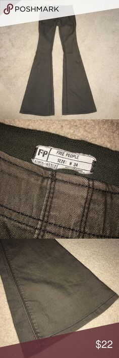 Free People Flare Jeans *WORN ONCE* Extra Flare Free People Olive Green pants. Size 24. Very cute and in excellent condition, like new. Free People Pants Boot Cut & Flare