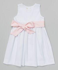 Look what I found on #zulily! White & Pink Sash Dress - Infant, Toddler & Girls by BeMine #zulilyfinds