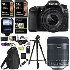 Canon EOS 80D Digital SLR Camera Kit EFS 18135mm f3556 Image Stabilization USM Lens X2 32GB Memory Cards Flash Filters and Accessory Bundle * Visit the image link for more details.