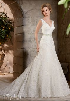 Wedding Dress 2783 Alencon Lace Appliques on Net with Wide Scalloped Hemline…