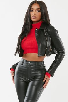Cropped moto jacket featuring zip up details. Collared Long sleeves Cropped Zip up closure polyester Model wears size s Hot Outfits, Girl Outfits, Tight Leather Pants, Leder Outfits, Elegantes Outfit, Cute Jackets, Girl Smoking, Leather Dresses, Moto Jacket