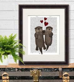 Otters in Love Otters holding hands floating otters by FabFunky