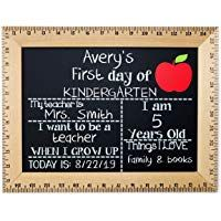 First Day of School Chalkboard, Reusable Sign Board with Real Wooden Ruler Frame, Solid Red Apple, Handmade in USA Wooden Ruler, School Chalkboard, Kindergarten First Day, Chalk Markers, Red Apple, First Day Of School, Real Wood, Free Delivery, Preschool