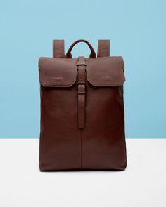 Pebble grain leather backpack - Dark Tan | Bags | Ted Baker UK