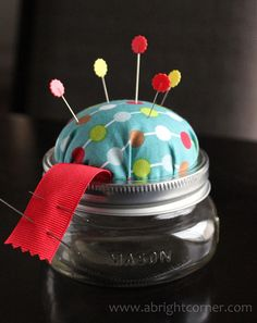 pin cushion jar - great for those large packages of long pins, store them in the jar until u need them