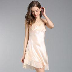 Silk-nightdress-Female-Summer-100-silk-Women-Nightgown- e20b2d527