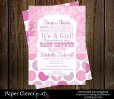 Tutus And Tiaras Baby Shower Invitations   Google Search