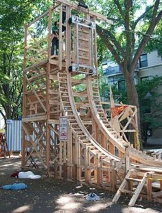 build a roller coaster in the backyard, like these five people! Homemade Roller Coaster, Ninja Warrior Course, Backyard Playground, Backyard Zipline, Zip Line Backyard, Decks, Diy Coasters, Roller Coasters, Hot Dog Stand