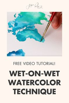 wet on wet watercolor techniques for beginners in this free video tutorial! Wet-on-wet is a basic and classic technique for painting watercolor.You can use it for florals, landscapes, patterns…almost anything! It's my absolute favorite thing about watercolor. Watercolor Flowers Tutorial, Step By Step Watercolor, Watercolour Tutorials, Watercolor Techniques, Painting Tutorials, Easy Watercolor, Watercolor Design, Watercolor Painting, World Map Painting