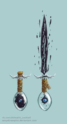 Frasco de espada demoníaca (1d6+1d6elemental maligno)