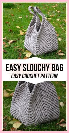 Crochet pattern Easy Slouchy Bag - easy crochet bag pattern for beginners . Crochet pattern Easy Slouchy Bag - easy crochet bag pattern for beginners - bags and cups - Crochet Simple, Free Crochet Bag, Crochet Market Bag, Crochet Tote, Crochet Handbags, Crochet Purses, Crochet Crafts, Crochet Hooks, Knit Crochet