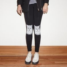 Fab.com | Cosmo Cat Leggings Black