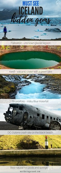 Iceland off the beaten path with the exact location map of the hidden places. | worlderingaround . . . Hidden gems in Iceland, hot pools in Iceland, free natural hot pools better than Blue Lagoon, plane crash site, black beach, inside the volcano, volcani