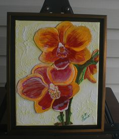 YellowRed Orchid FRAMED LEATHER COLLAGE, Art Wall Art Original Signed Art Wall Decor, 3 D Art, Painting, Collage, Wall Art, Home Decor Art, by LindasLeatherStore on Etsy