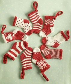knitted mini christmas stockings - Free knitting patterns designed by Julie at Little Cotton Rabbits. Knit Christmas Ornaments, Mini Christmas Stockings, Mini Stockings, Stocking Ornaments, Knitted Christmas Decorations, Crochet Christmas, Knitted Christmas Stocking Patterns, Christmas Patterns, Handmade Ornaments
