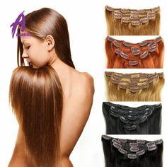 7A Yaki Lumière Naturelle Brésilienne Vierge Cheveux Raides Afro-Américain Clip En Extensions de Cheveux Humains Clip Ins Tissage Pour Les Noirs