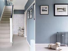 Hallway - farrow & ball oval room blue dining room blue hallway, oval r Hallway Colour Schemes, Hallway Colours, Blue Color Schemes, Room Colors, Dining Room Colour Schemes, Paint Colors, Oval Room Blue, Dining Room Blue, Hallway Walls