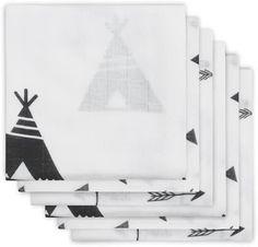 Jollein Indians -  hydrofiel luier-  black & white - 6 stuks