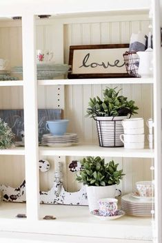 How to Style a Hutch for Spring - Bellewood Cottage Interior Design Themes, Interior Design Boards, Apartment Interior Design, Rustic Hutch, Rustic Farmhouse Decor, Spring Home Decor, White Home Decor, Rooms Home Decor, Awesome Bedrooms