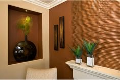 Wall would look good in my penny bathroom also like niche cut out in sheetrock   Redone copper wall in metal thecopperdesign.com