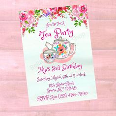 Personalized Girls Tea Party Birthday Invitation - Girls Printable Birthday Invite - Watercolor - Digital Printable Download Custom Baby Shower Invitations, Printable Birthday Invitations, Personalized Invitations, Girls Tea Party, Tea Party Birthday, 3rd Birthday, Childrens Wall Art, Baby Wall Art, Party Shop