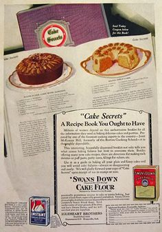 1922 Swans Down Cake Flour Ad with Recipes