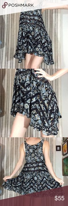 FIRM$ FREE PEOPLE Trapeze Voile & Lace Tunic Dress Excellent condition. Smoke-free home. Black lace baby blue and mellow yellow paisley print. Supersoft. Highly collectible. Rare. Fabric is 100% rayon. Free People Dresses Mini