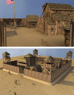PACKAGE CONTENT _____________________________________________________ - 23 .obj files - 15 Props zero position (logs, houses, cactus ...) - 1 Complete Wooden Fort with all props - 1 light set - 27 Textures maps The doors of the surrounding wall and the paddock can be opened. Select wall4 prop and adjust the dial open doors, for the paddock: select paddock part and adjust the dial open door. All promos images render in Poser Pro 2012. Tested in PP2012, not tested in DS. Wooden Fort, Forte Apache, Wood Craft Patterns, Old Fort, Fortification, Le Far West, Southern Homes, Country Homes, Fantasy Landscape