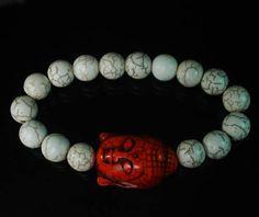 Howlite Turquoise Buddhist Buddha Head Bead White Ball Beads Stretch Bracelet
