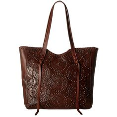 American West Kachina Spirit Large Zip Top Tote (Chestnut... ($248) ❤ liked on Polyvore featuring bags, handbags, tote bags, brown leather purse, leather handbag tote, zip top tote, leather tote handbags and zip top leather tote
