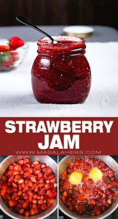 My grandmother's natural french jam recipe. Preserved sweet sticky strawberry for you to enjoy over your breakfast bread. Canning Soup Recipes, Pressure Canning Recipes, Jam Recipes, Fruit Recipes, Brunch Recipes, Sauce Recipes, Homemade Strawberry Jam, Strawberry Jam Recipe, Homemade Spice Blends