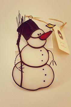 """Купить Ёлочная игрушка """"Снеговик"""" - игрушки на елку, игрушки, сувениры и подарки, стекло, витражные украшения"""