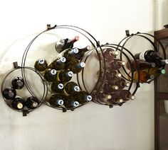 Circles Wall-Mount Wine Rack | Pottery Barn-- I WANT! NOW!!!!