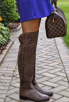 Tory Burch Simone Over the Knee Boots in Weathered Brown