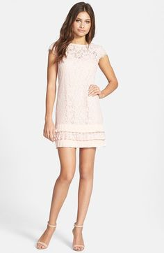 Jessica Simpson Ruffle Hem Lace Shift Dress available at #Nordstrom - know it's not fit and flare but LOVE and think it could work