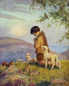 Little shepherd boy with his head bowed in prayer. Prophetic art.