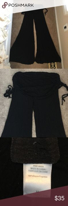 "YFB sierra pants Amazing foldover Black flowy pants by Young Fabulous and Broke! Approx 33-34"" inseam, super cozy and has ties on the side for adjustment to foldover part. Slight pilling in between the legs, but still EUC! Young Fabulous & Broke Pants"