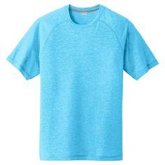 Sport-Tek Men's Pond Blue Heather PosiCharge Tri-Blend Wicking Raglan Tee