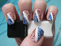 July 4th nails Holiday Nail Art Gloss White Nails with Red & Blue Glitter Accents Free Hand Nail Art
