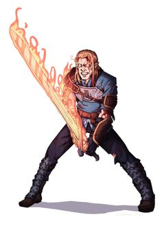 Male Human Cleric or Warpriest of Gorum with Flaming Greatsword - Pathfinder PFRPG DND D&D ed fantasy Fantasy Character Design, Character Drawing, Character Design Inspiration, Character Concept, Character Ideas, Concept Art, Dungeons And Dragons Characters, Dnd Characters, Fantasy Characters