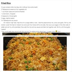 Easy Fried Rice Recipe i love fried rice and i love ot go to the japanese steak houses but its so expensive so i'm glad to find a way to make it myself. but i'm gonna make it with shrimp and without eggs cause i really don't like eggs. Rice Recipes, Lunch Recipes, Asian Recipes, Dinner Recipes, Cooking Recipes, Healthy Recipes, Wok Recipes, Recipies, Jamaican Recipes