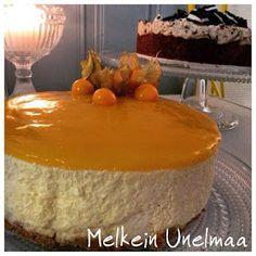 Melkein Unelmaa: Mangokakku (Maidoton, Gluteeniton, Kananmunaton) Cheesecake, Pudding, Baking, Desserts, Food, Tailgate Desserts, Deserts, Cheesecakes, Custard Pudding