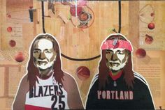 WILLIE AS PORTLAND TRAILBLAZERS -- 16 X 24in -- Mixed Media on Board -- CONTACT: annegenung@gmail.com