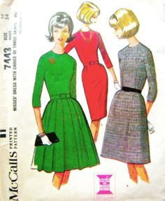 Vintage Pattern McCall's 7443 wiggle by momandpopcultureshop Vintage Dress Patterns, Clothing Patterns, 60s Patterns, Pretty Patterns, Interfacing Fabric, Mccalls Sewing Patterns, Miss Dress, Vintage Couture, 1960s Fashion